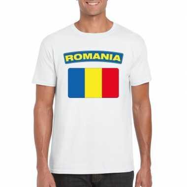 T-shirt wit roemenie vlag wit heren