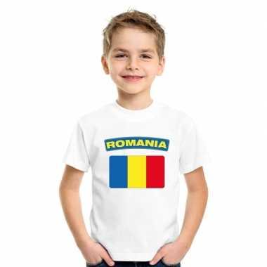 T-shirt wit roemenie vlag wit jongens en meisjes