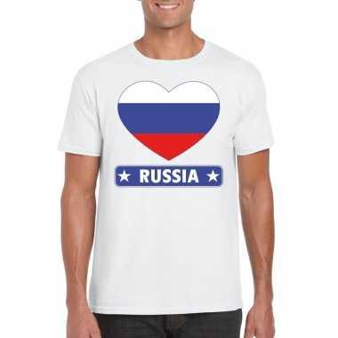 T-shirt wit rusland vlag in hart wit heren