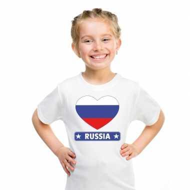 T-shirt wit rusland vlag in hart wit kind