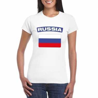 T-shirt wit rusland vlag wit dames