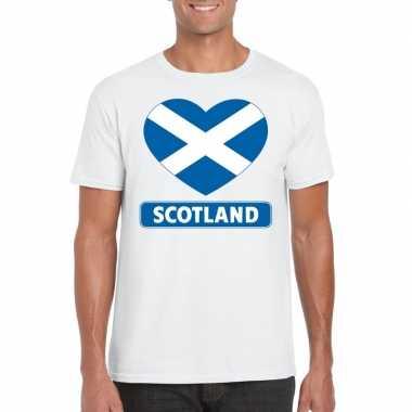 T-shirt wit schotland vlag in hart wit heren