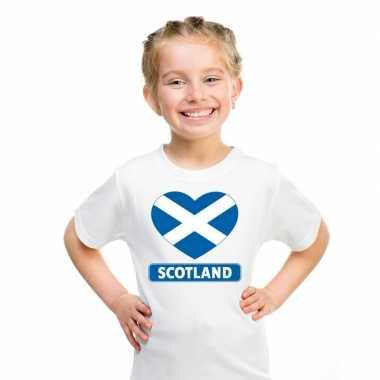 T-shirt wit schotland vlag in hart wit kind