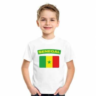 T-shirt wit senegal vlag wit jongens en meisjes