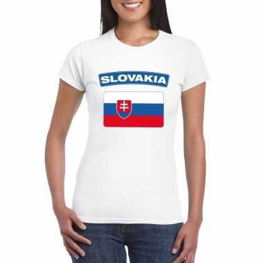 T-shirt wit slowakije vlag wit dames