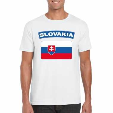 T-shirt wit slowakije vlag wit heren