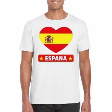 T-shirt wit spanje vlag in hart wit heren