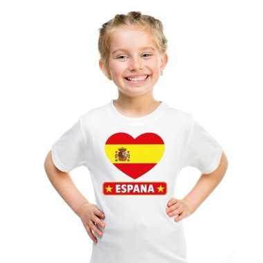 T-shirt wit spanje vlag in hart wit kind