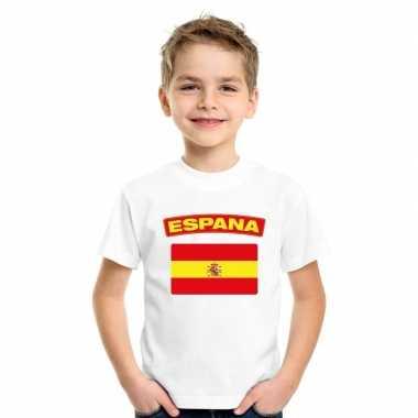 T-shirt wit spanje vlag wit jongens en meisjes