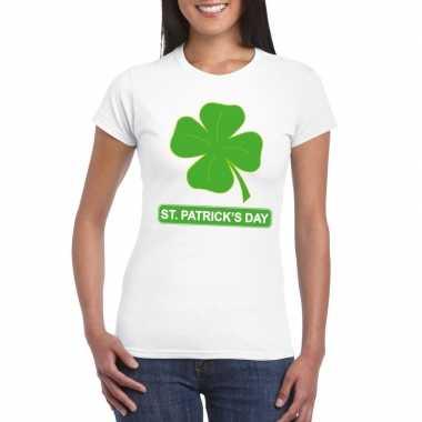T-shirt wit st. patricksday klavertje wit dames