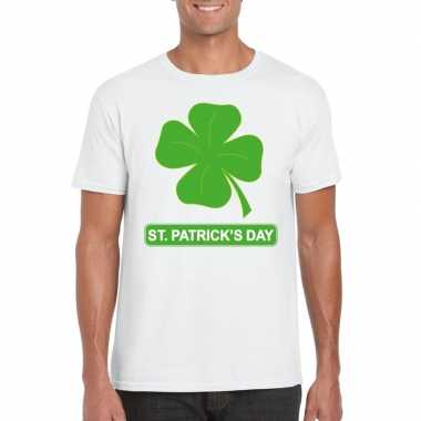 T-shirt wit st. patricksday klavertje wit heren
