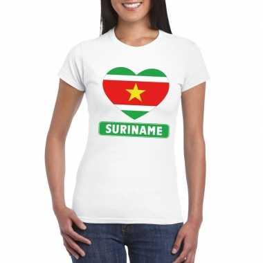 T-shirt wit suriname vlag in hart wit dames