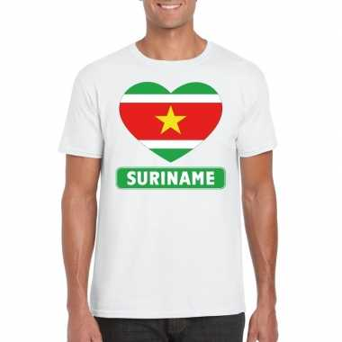 T-shirt wit suriname vlag in hart wit heren