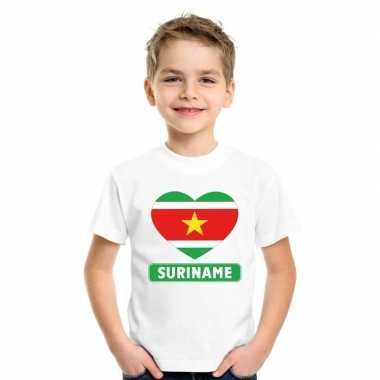 T-shirt wit suriname vlag in hart wit kind
