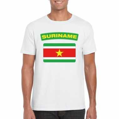 T-shirt wit suriname vlag wit heren