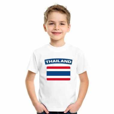 T-shirt wit thailand vlag wit jongens en meisjes