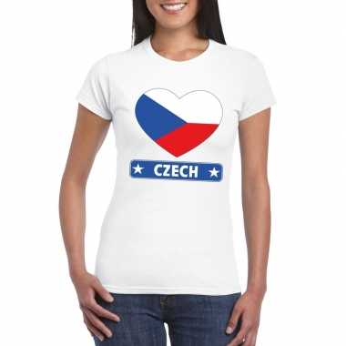 T-shirt wit tsjechie vlag in hart wit dames