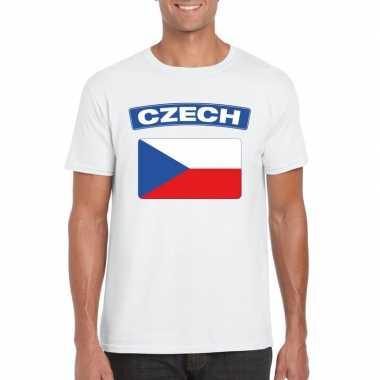 T-shirt wit tsjechie vlag wit heren