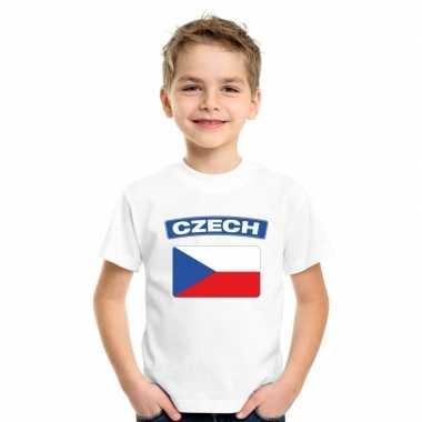 T-shirt wit tsjechie vlag wit jongens en meisjes
