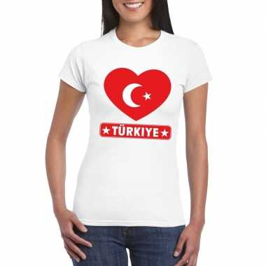 T-shirt wit turkije vlag in hart wit dames