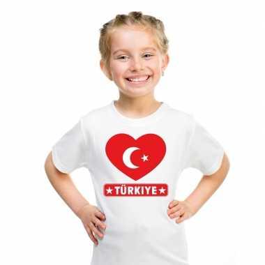 T-shirt wit turkije vlag in hart wit kind