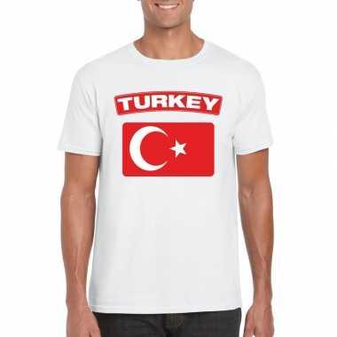 T-shirt wit turkije vlag wit heren