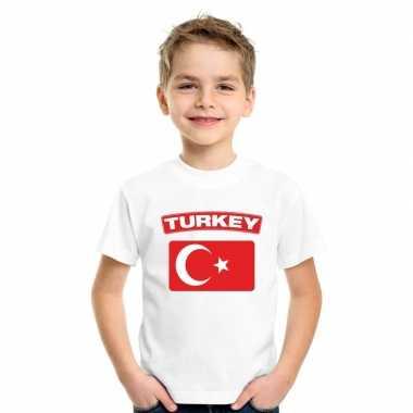 T-shirt wit turkije vlag wit jongens en meisjes