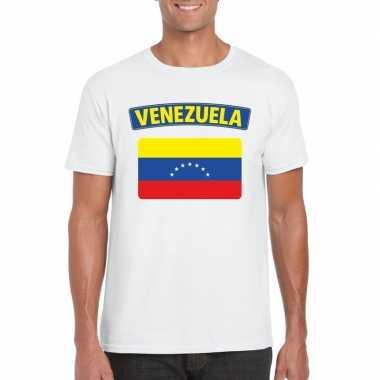 T-shirt wit venezuela vlag wit heren