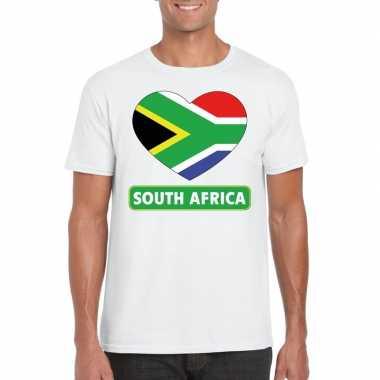 T-shirt wit zuid afrika vlag in hart wit heren