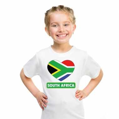T-shirt wit zuid afrika vlag in hart wit kind