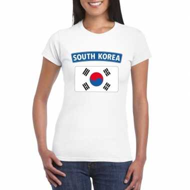 T-shirt wit zuid korea vlag wit dames