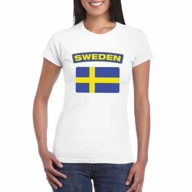 T-shirt wit zweden vlag wit dames