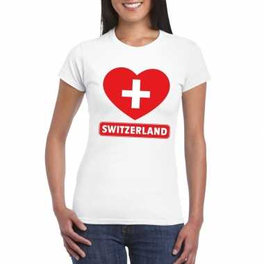 T-shirt wit zwitserland vlag in hart wit dames