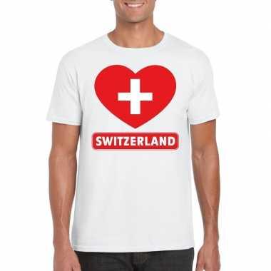 T-shirt wit zwitserland vlag in hart wit heren