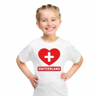 T-shirt wit zwitserland vlag in hart wit kind