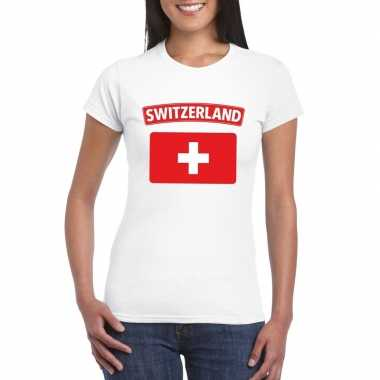 T-shirt wit zwitserland vlag wit dames