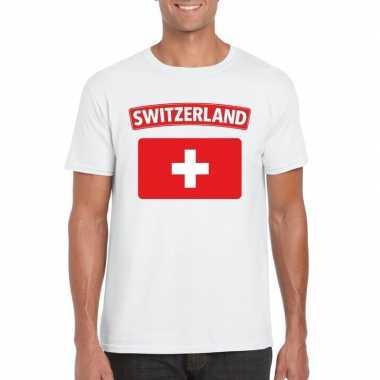 T-shirt wit zwitserland vlag wit heren