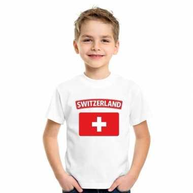 T-shirt wit zwitserland vlag wit jongens en meisjes