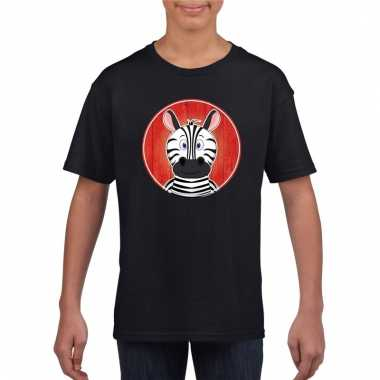 T shirt zebra zwart kinderen