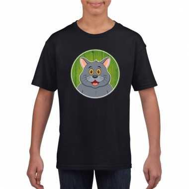 T-shirt zwart met grijze kat kinderen