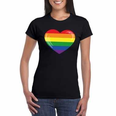 T-shirt zwart regenboog vlag in hart zwart dames