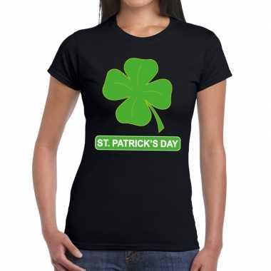T-shirt zwart st. patricksday klavertje zwart dames