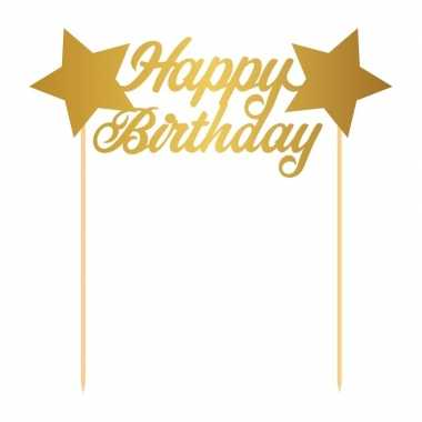 Taart topper goud happy birthday