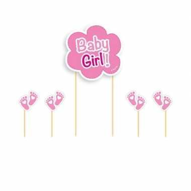 Taart topper roze baby girl