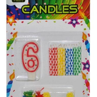 Taarten decoratie kaarsen cijfer 6