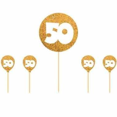 Taartversiering gouden bruiloft 50 jaar