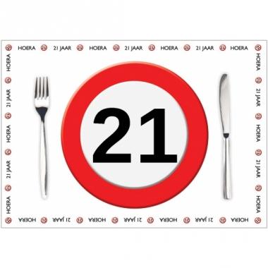 Tafel placemats 21 jaar 10 stuks