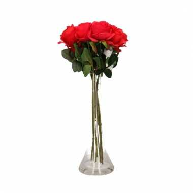Tafeldecoratie 10 rode rozen in een vaas 45 cm