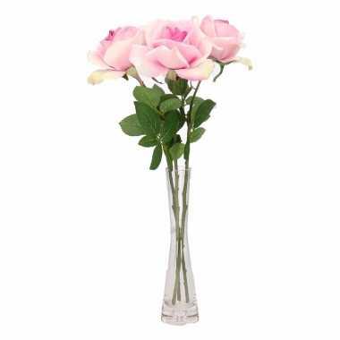 Tafeldecoratie 3 roze rozen in een vaas 37 cm