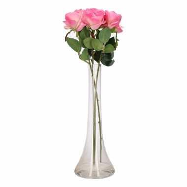 Tafeldecoratie 3 roze rozen in een vaas 45 cm